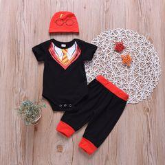 Newborn Baby Boys Short Sleeves Gentleman Romper+Pants+Glasses Hat Set Outfits Clothes 3PCS Black GX714A 70