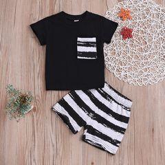 Newborn Baby Boys Short Sleeves Stripe Tops+Shorts Set Outfits Clothes 2PCS Black GX768A 70