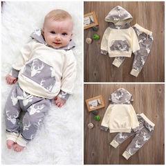 Newborn Infant Fashion Baby Kids Boys Deer Hoodies Sweatshirt Pants Hat Set 2Pcs Gray GX479A 70