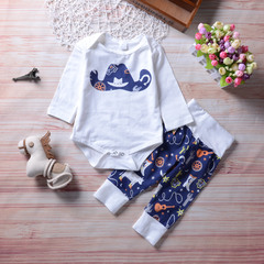 Newborn Baby Boys Girls Long-sleeved Cowboy Hat Romper+Printing Pants Set Outfits Clothes Blue GX552A 70