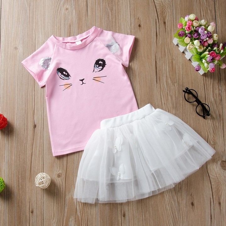 Baby Kids Girls Clothing Cartoon Kitty T-Shirt+Tutu Skirt Toddler Set Pink CR002B 110