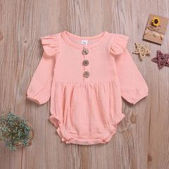 Newborn Infant Baby Girls Ruffle Lace Button Cotton And Linen Romper Bodysuit Jumpsuit Outfits Pink GC303A 70
