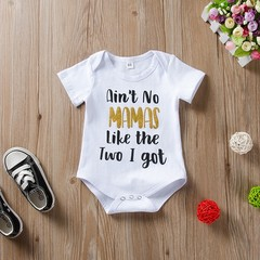 Newborn Baby Boy Girl Short Sleeve Cotton Printing Romper Jumpsuit Bodysuit Clothes Outfits White GC301A 70
