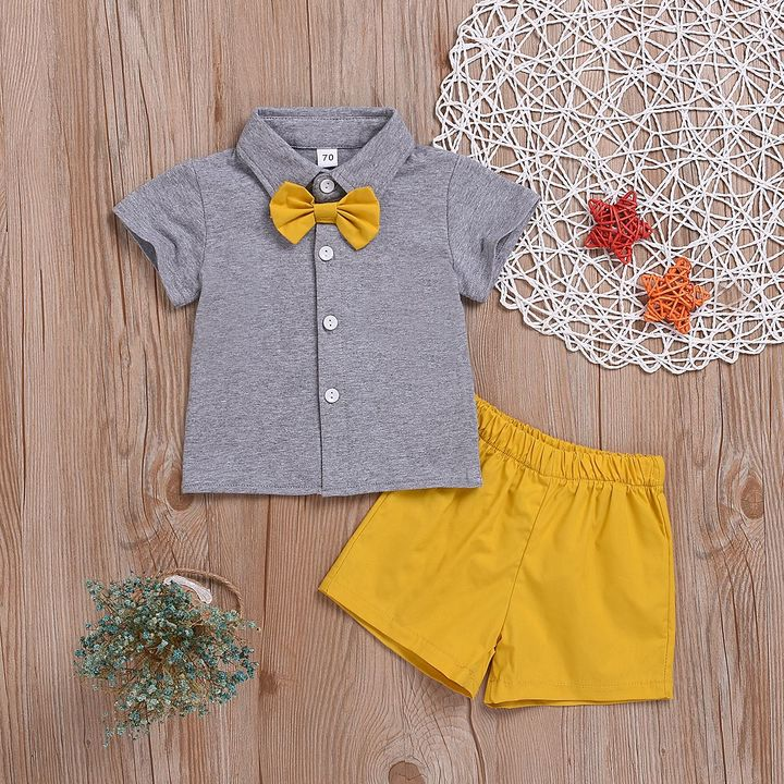 Toddler Kids Newborn Baby Boys Bow Tie Tops+Shorts Set Outfits Clothes 2PCS Yellow CR061B 70