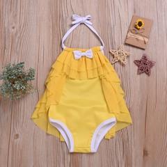 Toddler Kids Baby Girls Sleeveless Backless Bowknot Lace One-piece Swimming Swimsuit Swimwear Yellow YY050A 90