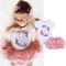 Newborn Kids Baby Girls Flower Printing Romper Tulle Lace Shorts Outfits Set Clothes 2PCS Pink ZY009A 70