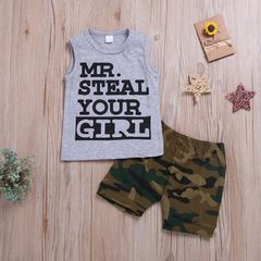 Newborn Toddler Baby Boys Sleeveless Printing Tops+Camouflage Shorts Set Outfits Clothes 2PCS Gray GX838A 70