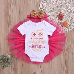 Newborn Baby Girls Short sleeve Game Romper+Tulle Skirt+Bowknot Headband Set Outfits Clothes 3PCS Rose red ZY005A 90