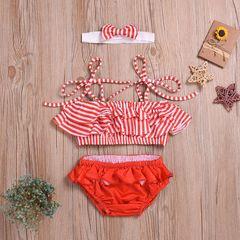 Newborn Infant Baby Girls Holiday Stripe Ruffled Strap Split Headband Swimsuit Swimming Swimwear Red YY052A 90