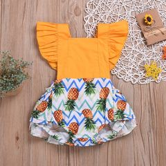 Newborn Baby Girls Pineapple Lace Fly Sleeve Romper Jumpsuit  Bodysuit Outfits 0-24M Yellow GH459A 70