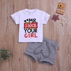 Newborn Kids Baby Boys Short Sleeve Printing T-shirt Tops+Shorts Set Outfits Clothes 2PCS white ML025A 70