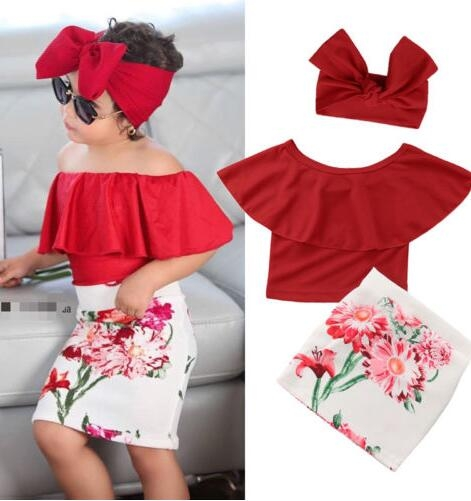 Fashion Toddler Kids Girls Off Shoulder Ruffle Short Tops Flower Skirt Headband Set Outfits Clothes Red gx873a 130
