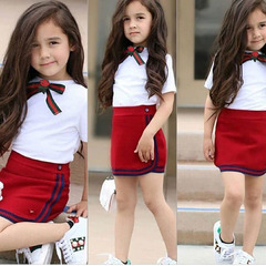 Toddler Kids Baby Girls Bow Flower Tie Tops T-shirt Tight Skirts Set Outfits Clothes 2PCS Red GX874A 110