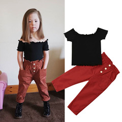 Fashion Toddler Kids Baby Girls Off Shoulder Short Tops+ Button Pant Set Outfits Clothes 2PCS black GH469A 90