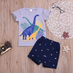 Toddler Kids Baby Boys Short Sleeve Dinosaur T-shirt Tops+Shorts Set Outfits Clothes Gray HL030A 90