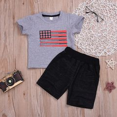 Toddler Kids Baby Boys Short Sleeve Printing T-shirt Tops+Shorts Set Outfits Clothes 2PCS Gray HL026A 80