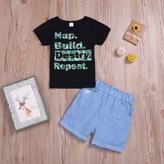 Toddler Kids Baby Boys Printing Short Sleeve Tops+Denim Shorts Set Outfits Clothes 2PCS Black GX813A 80
