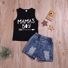 Toddler Kids Boys Sleeveless Arrow Printing T-shirt+Denim Shorts Set Outfit 2PCS Black HL015A 90