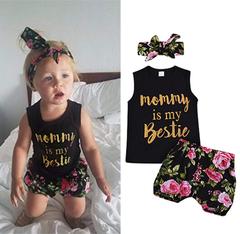 Newborn Kids Baby Girls Sleeveless Tops Flower Shorts Bowknot Headband Set Outfits Clothes Black GD212A 70