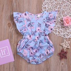 Newborn Baby Girls Flower Floral Fly Sleeve Rompers Jumpsuits Bodysuit Set Clothes Outfit 0-24M Blue ZL004A 70