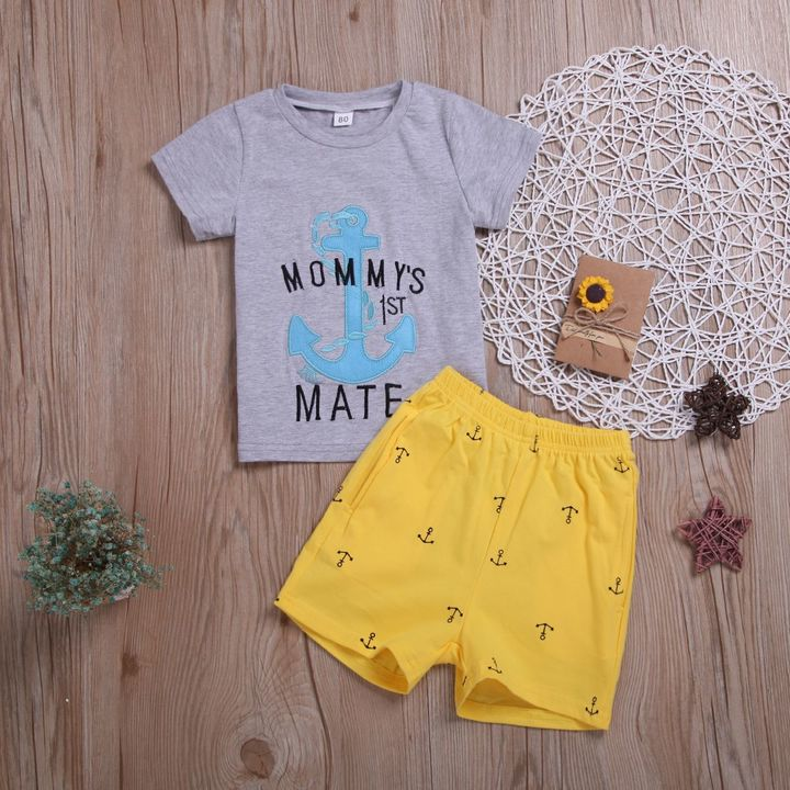 Toddler Kids Baby Boys Short Sleeve Boat Anchor T-shirt Tops+Shorts Set Outfits Clothes 2PCS Yellow ZT036A 80