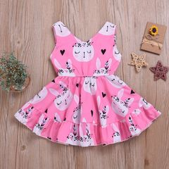 Toddler Kids Baby Girls Rabbit Sleeveless One-piece Dress Cute Birthday Pageant Party Tutu Dress Pink HL011A 100