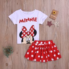 Toddler Kids Baby Boys Girls Short Sleeve Minnie/Mickey Tops+Dots Skirt/Shorts Set Outfits Clothes Red CR072A 80