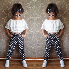 Toddler Kids Baby Girl Chiffon Ruffle Top Off-shoulder T shirt+Trousers Pants Outfit Set White GH417A 100