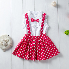 Toddler Kids Baby Girls Dots Bowknot Lace Tops Skirt Set Outfits Clothes 2PCS Red ZT030B 90