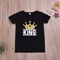 Casual Toddler Kids Boys Girls Cotton Printing Basic Style Daily Short Sleeve T-shirt Tops Black A King XB160A 90 cotton