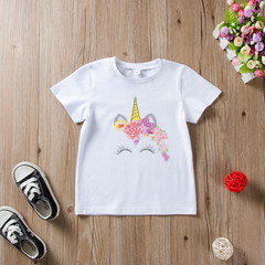Unicorn Casual Toddler Kids Girls Cotton Printing Basic Style Daily T-Shirt Tops A ZT033A 90