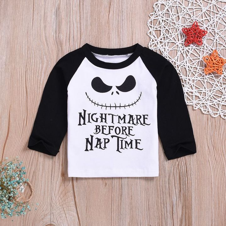 Casual Newborn Baby Boys Nightmare Multicolor Long sleeve Cotton T-Shirt Top White GX811B 80 cotton