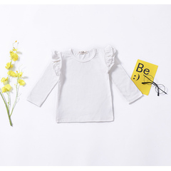 Toddler Kid Baby Girls Ruffle Lace Long Sleeve Top Shirt Blouse  Clothes Casual White/Black/Wine Red White JHX003A 80