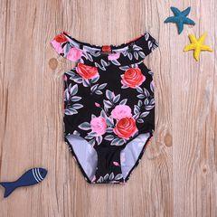Toddler Kids Baby Girls Off Shoulder Ruffled Flower One-piece Swimsuit Swimming Swimwear Black YY053A 90