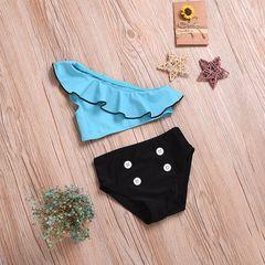Toddler Kids Baby Girls Single Shoulder Ruffled Top Button Shorts Swimsuit Swimming Swimwear 2PCS Blue YY059A 90