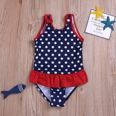 Newborn Kids Baby Girls Sleeveless Dots Bowknot Ruffle One-piece Swimming Swimsuit Swimwear Mazarine YY058A 90