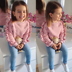 Toddler Kids Baby Girls Ruffle Tops Sweatshirt Denim Pants Jeans Outfits Children's clothing 2PCS Pink MN047A 80