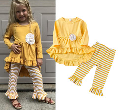 Toddler Kids Baby Girls Flower Tops Dress Striped Pants Leggings Outfits Clothes 2-7T Yellow GG421A 100
