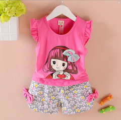 Toddler Kids Baby Girls Cartoon Bowknot Ruffled Sleeveless Tops+Floral Shorts Set Outfits Clothes Rose red SK006A m