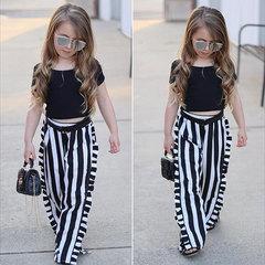 2Pcs Toddler Kids Baby Girls Summer Fashion Korean Suit Black Tops+Striped Pants Set Outfits Clothes Black JHX014A 80
