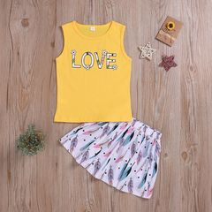 Toddler Kids Baby Boys Girls Sleeveless LOVE Tops+Feather Skirt Set Outfits Clothes 2PCS Yellow QXY001A 80