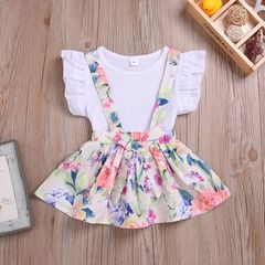 Toddler Kids Baby Girls Lace Ruffle Tops Bowknot Floral Suspender Skirt Set Outfits Clothes 2PCS White ZT098A 80