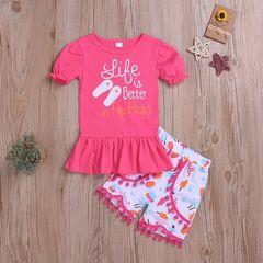 Sweet Toddler Kids Baby Girls Short Sleeve Ruffle Dress Tops+Tassels Cartoon Shorts Set Clothes Deep Pink HL034A 80