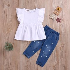 Fashion Toddler Kids Baby Girls Fly sleeve Ruffle Tops+Pearl Jeans Set Outfits Clothes 2PCS White BB043A 90