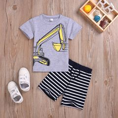 Toddler Kids Baby Boys Short Sleeve Excavator T-shirt Tops+Stripe Shorts Set Outfits Clothes 2PCS Gray ML035A 100