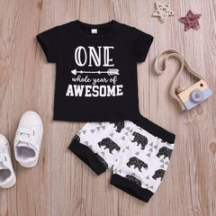 Newborn Kids Baby Boys Short Sleeve Arrows Printing T-shirt Tops+Bear Shorts Set Outfits Clothes Black ML042A 70