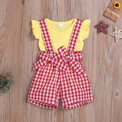 Newborn Kids Baby Girls Fly Sleeve T-shirt Tops+Grid Bowknot Suspender Shorts Set Clothes Red QXY005A 70