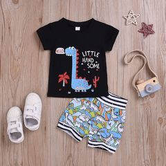 Newborn Kids Baby Boys Short Sleeve Dinosaur Printing T-shirt Tops+Cartoon Stripe Shorts Set Clothes Black ML037A 70