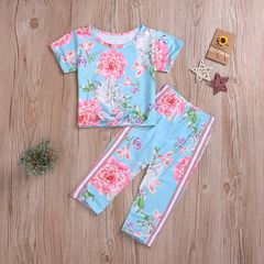 Casual Set Toddler Kids Baby Girls Flower Tops+Pants Set Outfits Clothes 2PCS Blue GH463A 90