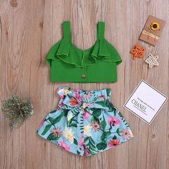 Toddler Kids Baby Girls Off Shoulder Ruffle Sleeveless Tops+ Bowknot Flower Shorts Set Outfits Green GH475A 90